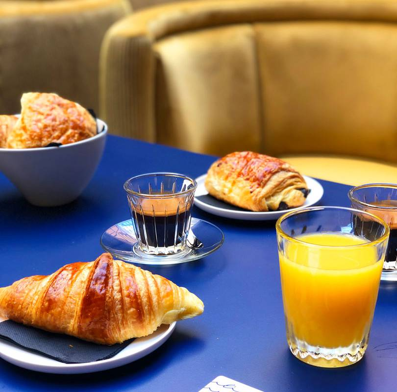 Breakfast with pastries and drinks in hotel restaurant Var