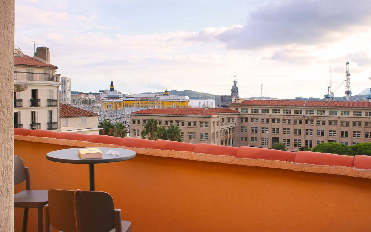 terrace with a view of the Toulon spa hotel