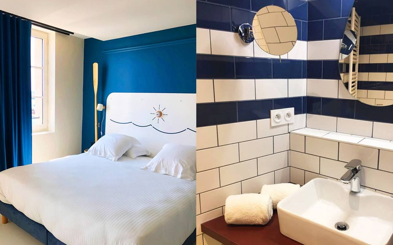 room with modern bathroom hotel toulon port
