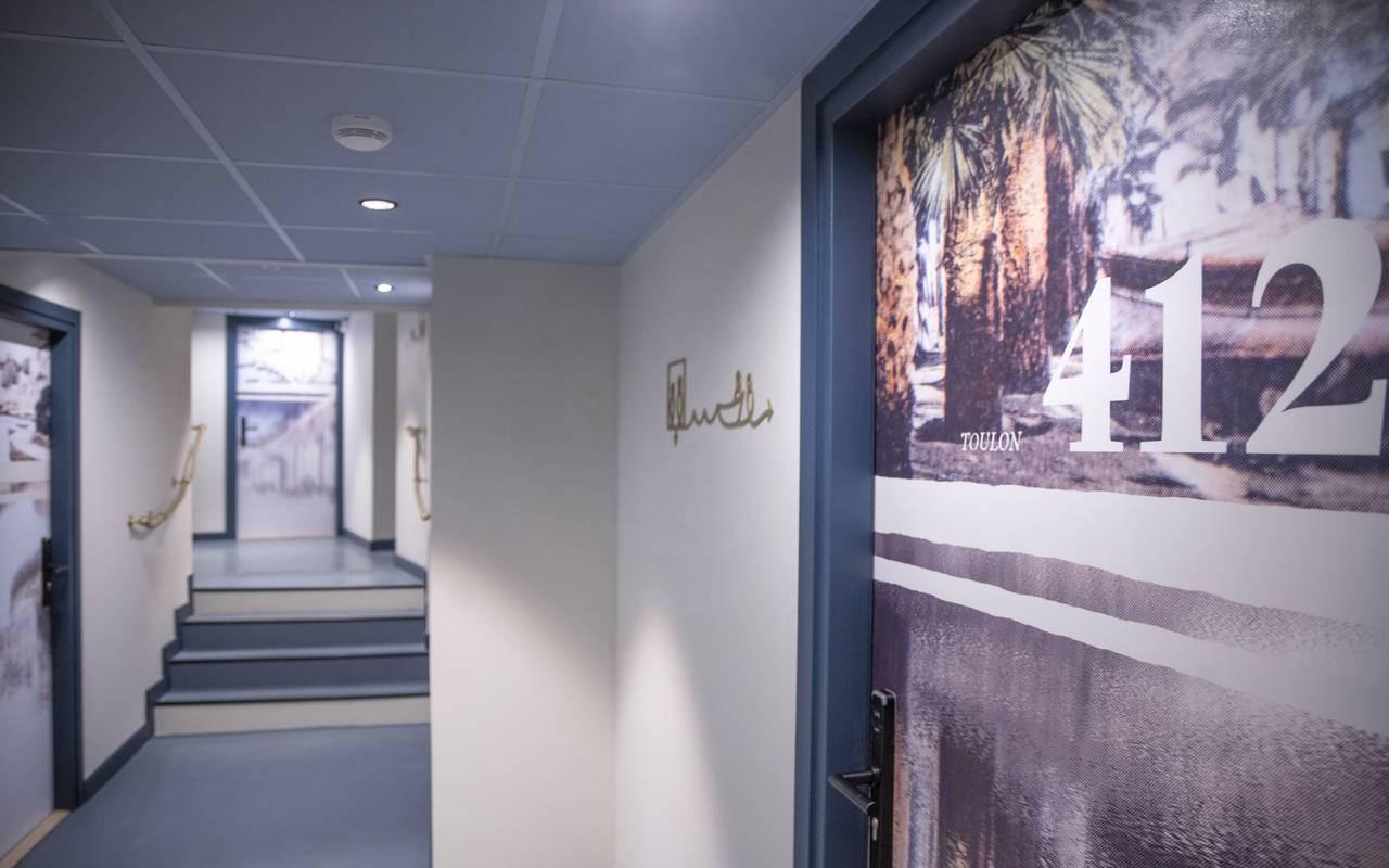 Corridors of our hotel, weekend Toulon, L'Eautel
